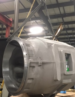 Lift system moving a casting