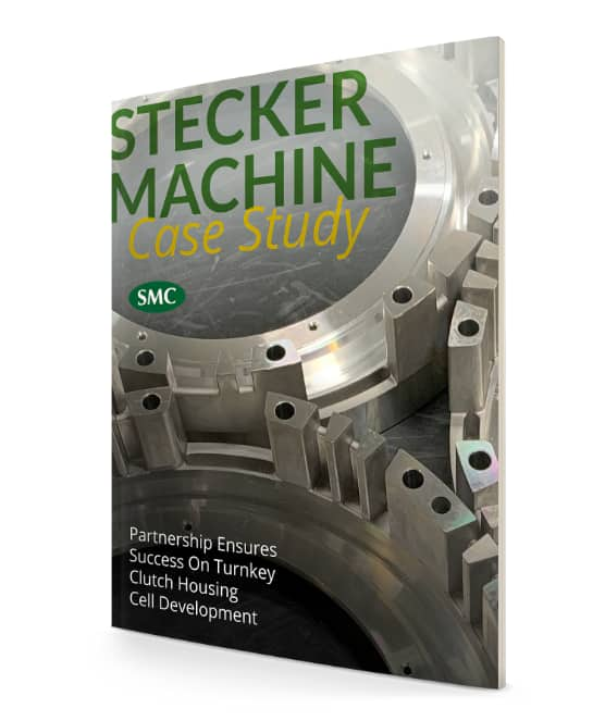 Stecker machine case study magazine cover with machined parts